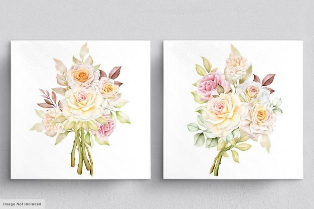 Mooie bloemen boeketten aquarel set