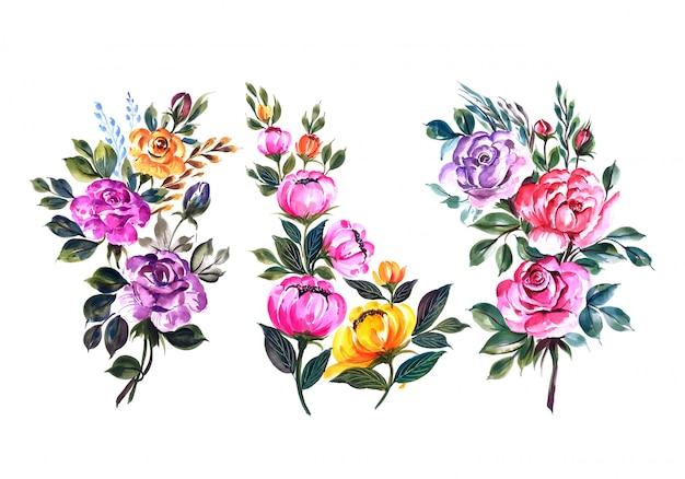Mooie bloemen bos set