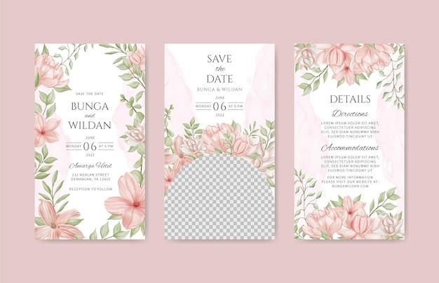 Mooie bloemen bruiloft instagram verhalen sjabloon set bundel