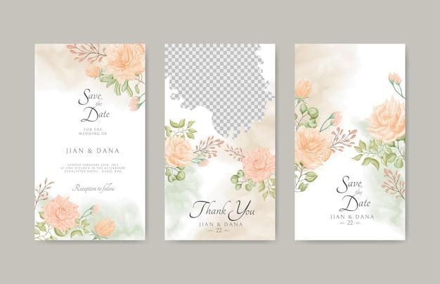 Mooie bloemen bruiloft instagram verhalen sjabloon