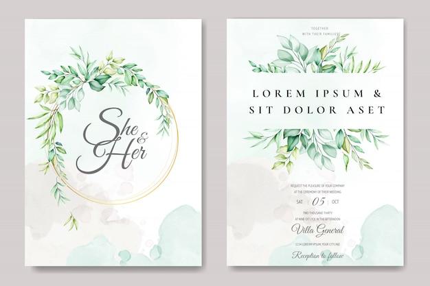 Mooie bloemen bruiloft kaartsjabloon met aquarel rozen en bladeren