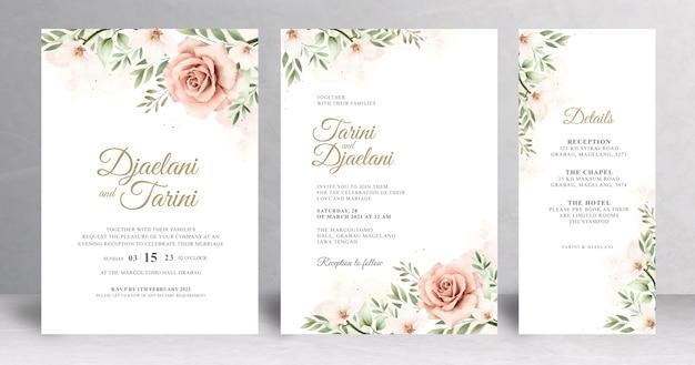 Mooie bloemen bruiloft kaartsjabloon