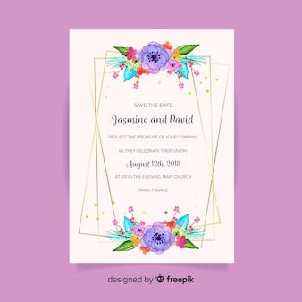 Mooie bloemen bruiloft uitnodiging concept