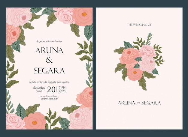 Mooie bloemen bruiloft uitnodiging kaartsjabloon in pastel kleur