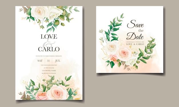 Mooie bloemen bruiloft uitnodiging kaartsjabloon kaderset