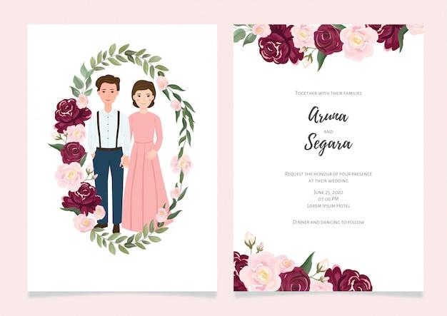 Mooie bloemen bruiloft uitnodiging kaartsjabloon met bruid en bruidegom karakter illustratie instellen
