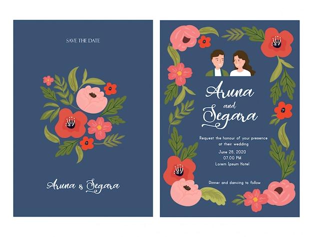 Mooie bloemen bruiloft uitnodiging kaartsjabloon met paar bruid en bruidegom illustratie op blauw