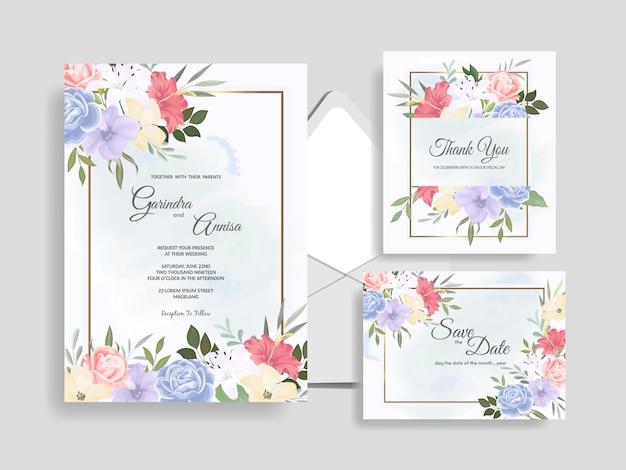 Mooie bloemen bruiloft uitnodiging kaartsjabloon premium