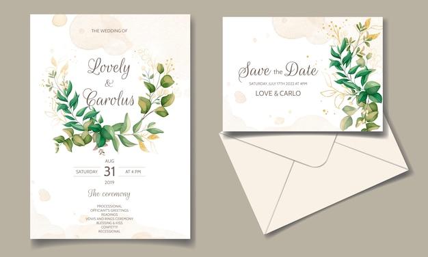 Mooie bloemen bruiloft uitnodiging kaartsjabloon set met gouden bladeren decoratie