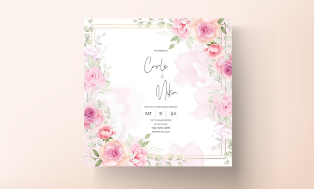 Mooie bloemen bruiloft uitnodiging kaartsjabloon