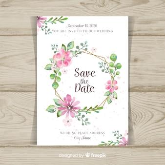 Mooie bloemen bruiloft uitnodiging sjabloon met gouden elementen