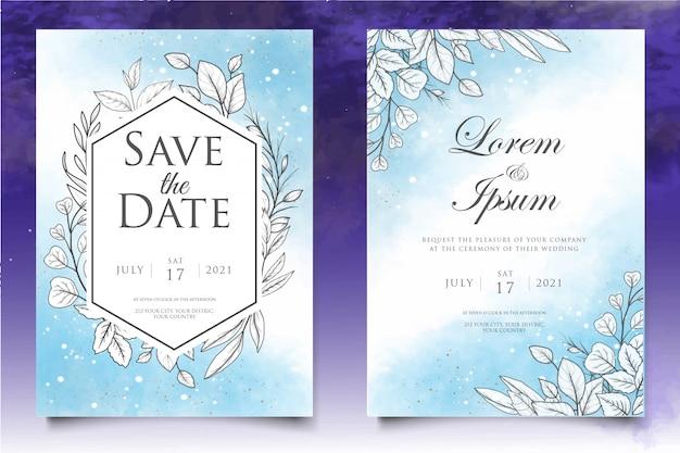 Mooie bloemen bruiloft uitnodiging sjabloon met lineart-stijl