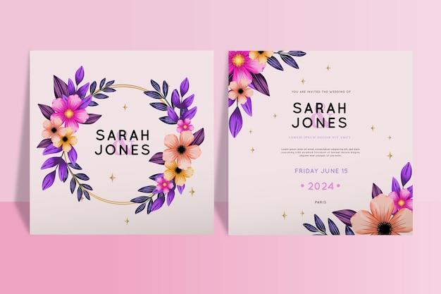 Mooie bloemen bruiloft uitnodiging sjabloon