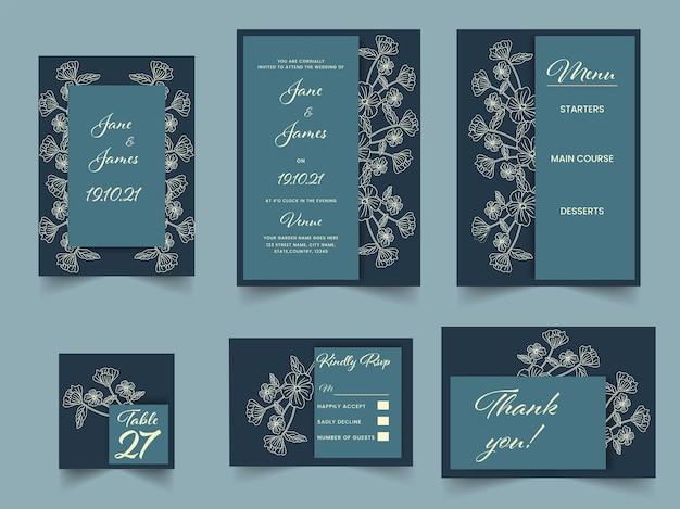 Mooie bloemen bruiloft uitnodiging suite in groenblauw blauwe kleur.