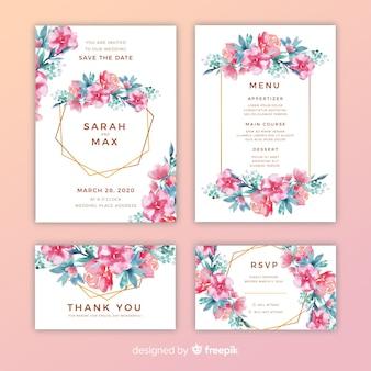 Mooie bloemen bruiloft uitnodigingen pack