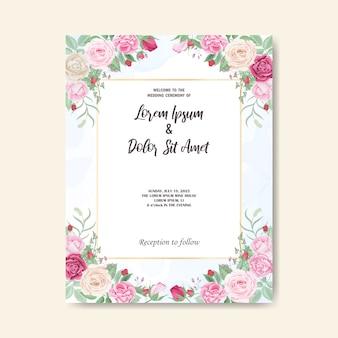 Mooie bloemen bruiloft uitnodigingskaart en sjabloon