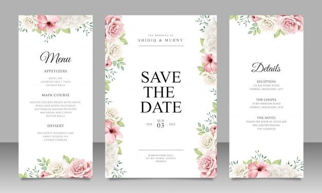 Mooie bloemen bruiloft uitnodigingskaart ingesteld sjabloon