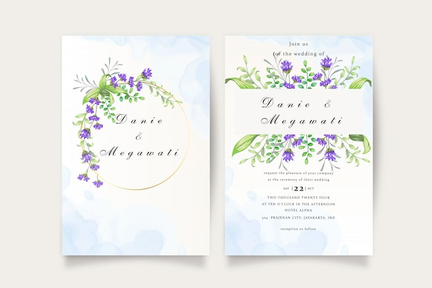 Mooie bloemen bruiloft uitnodigingskaart set