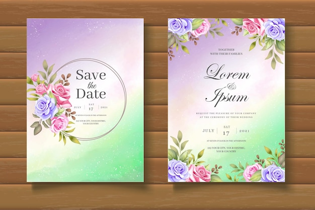 Mooie bloemen bruiloft uitnodigingskaarten set