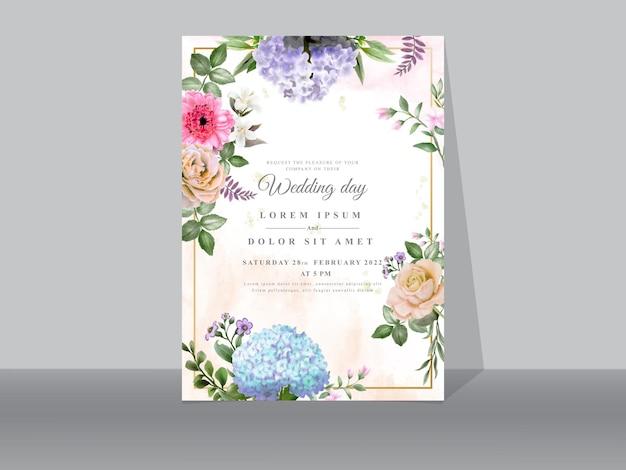 Mooie bloemen bruiloft uitnodigingskaarten