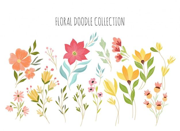 Mooie bloemen doodle collectie
