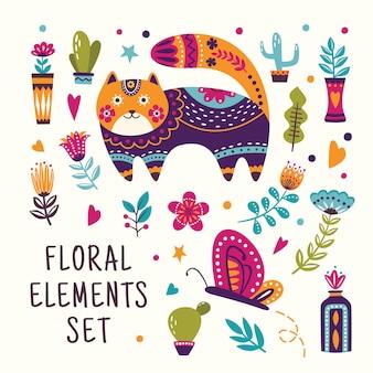 Mooie bloemen elementen instellen