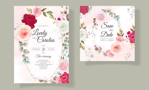 Mooie bloemen en bladeren bruiloft uitnodigingskaart