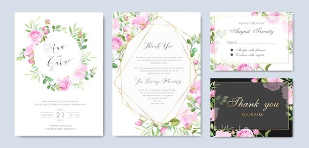Mooie bloemen en bladeren frame en bruiloft achtergrond sjabloon