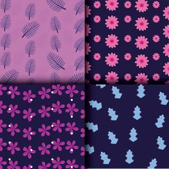 Mooie bloemen en bladeren instellen patronen