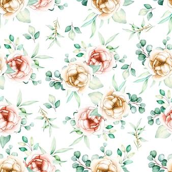 Mooie bloemen en bladeren naadloos patroon