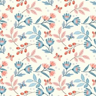 Mooie bloemen en vlinder naadloos patroon.