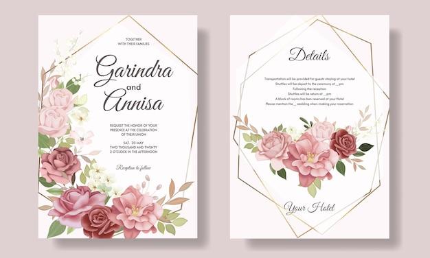 Mooie bloemen frame bruiloft uitnodiging kaartsjabloon