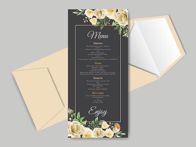 Mooie bloemen hand getrokken bruiloft uitnodiging kaartsjabloon