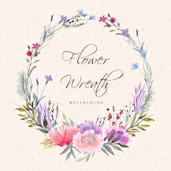 Mooie bloemen krans met waterverf