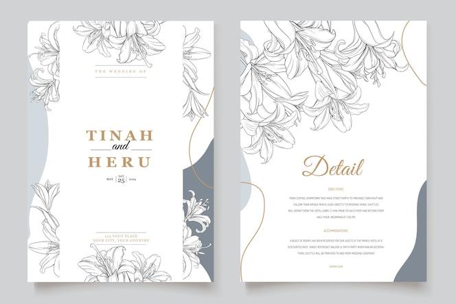 Mooie bloemen lelie bloemen uitnodigingskaart