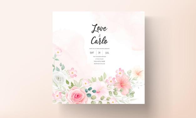 Mooie bloemen ontwerp bruiloft uitnodigingskaart
