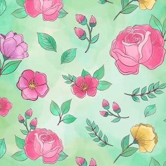 Mooie bloemen pioenrozen naadloze patroon