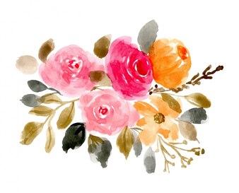 Mooie bloemen regeling aquarel achtergrond