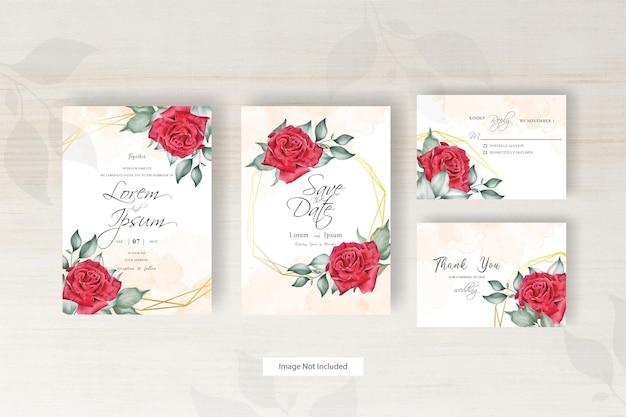 Mooie bloemen regeling met aquarel splash en geometrische bruiloft uitnodiging kaartsjabloon