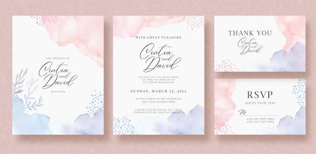 Mooie bloemen roze paarse splash bruiloft uitnodiging set
