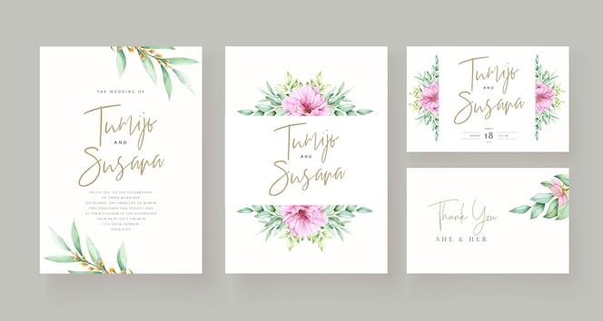 Mooie bloemen uitnodigingskaartsjabloon