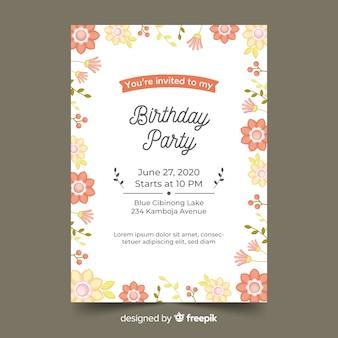 Mooie bloemen verjaardag uitnodiging sjabloon