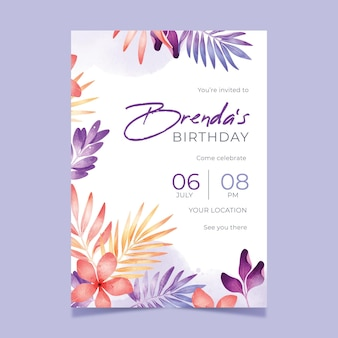 Mooie bloemen verjaardagsuitnodiging sjabloon