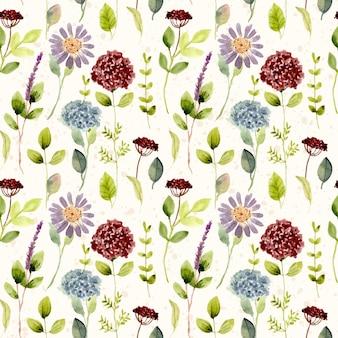 Mooie bloemen weide aquarel naadloze patroon
