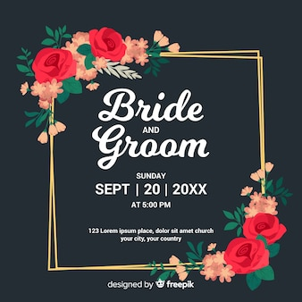 Mooie bloemenframe huwelijksuitnodiging