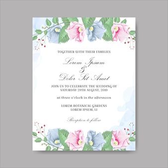 Mooie bloemenhuwelijkskaart