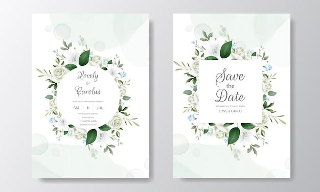 Mooie bloemenhuwelijksuitnodiging met bloeiende rozen en groene bladeren