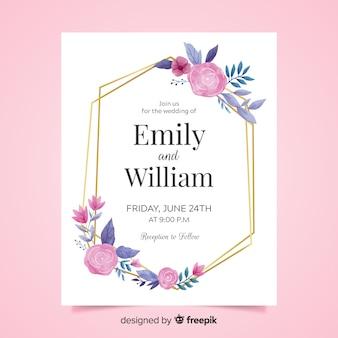 Mooie bloemenhuwelijksuitnodiging met gouden frame