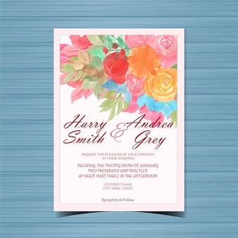 Mooie bloemenhuwelijksuitnodiging met kleurrijke bloemen
