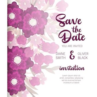 Mooie bloemenhuwelijksuitnodiging